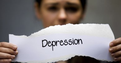 Girl with depression sign