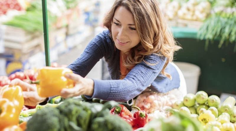 Woman buying healthy food
